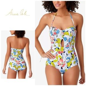 Ann Cole blue quilted floral swimsuit. NWT